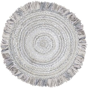 Boehm Hand-Braided Cotton Light Gray Area Rug by Bungalow Rose