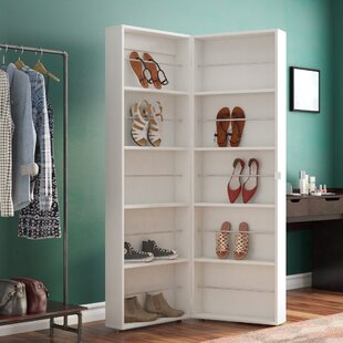 Bon Ridgley Mirrored 32 Pair Shoe Storage Cabinet