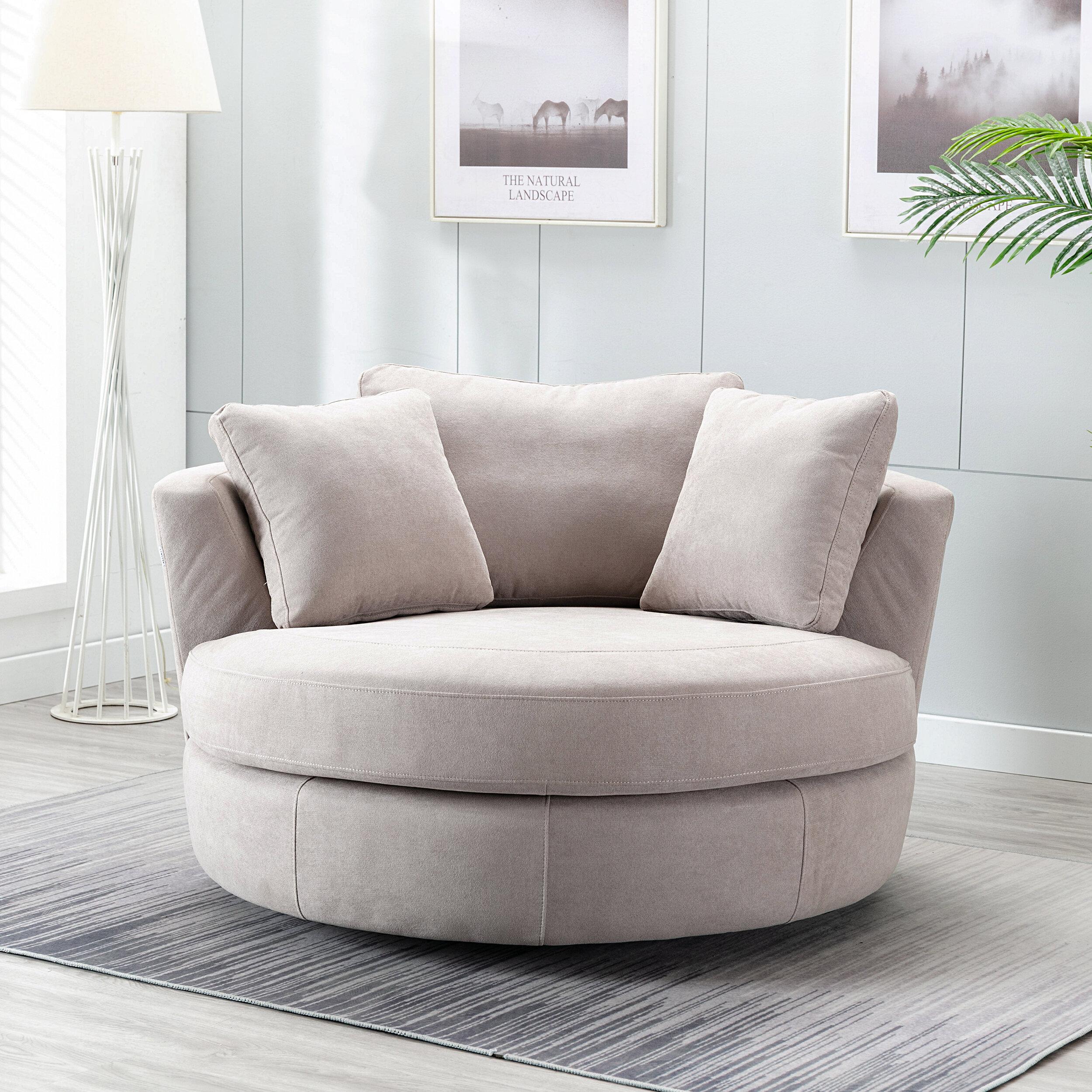 Minorca Elegant Round Swivel Barrel Chair