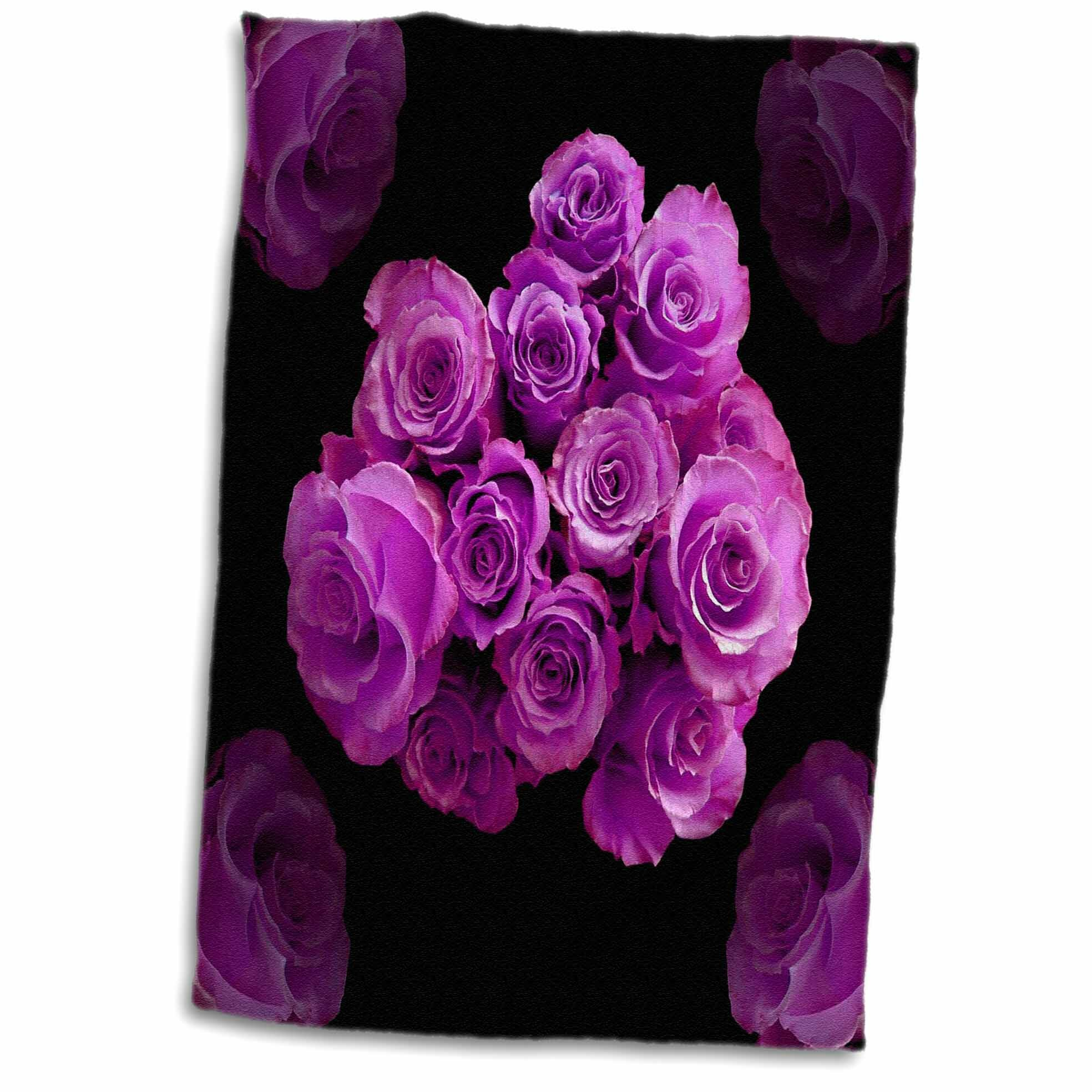 Symple Stuff Dreamy Magenta Rose Bouquet Surrounded By Four Roses On Background Towel Wayfair