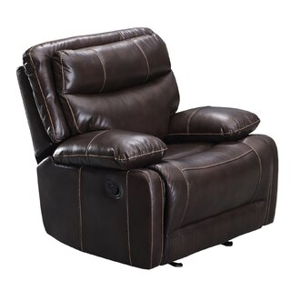Leatherette Glider Recliner Chair With Pillow Top Backrest, Brown by Red Barrel Studio SKU:DE607262 Buy