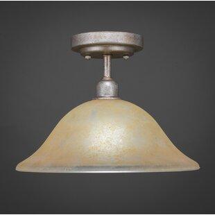 Kash 1-Light Marble Glass Semi-Flush Mount by Williston Forge