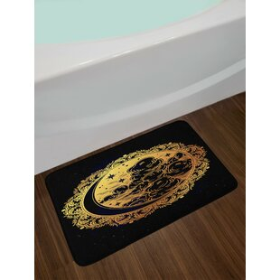 Authentic Golden Black Psychedelic Bath Rug