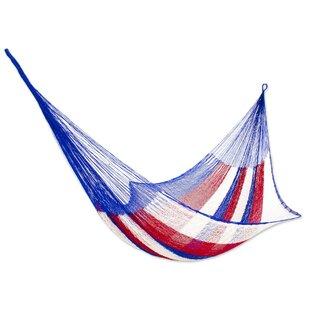 Novica Patriotic Rope Single Nylon Tree Hammock