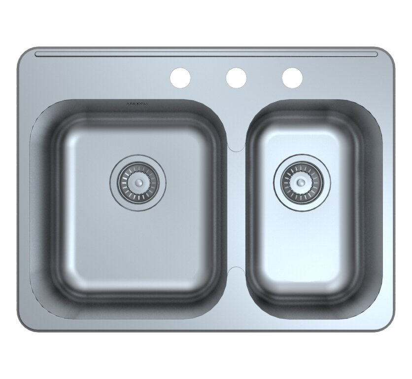 capri drop in 27 1   x 20 4   double bowl kitchen sink with grid and ancona capri drop in 27 1   x 20 4   double bowl kitchen sink with      rh   wayfair com
