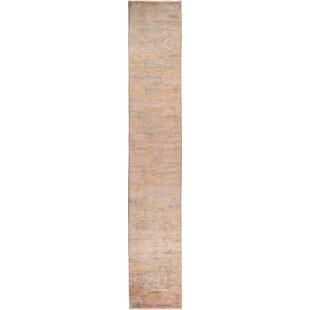 Affordable Price One-of-a-Kind 29 x 172 Wool Pink Area Rug By Isabelline