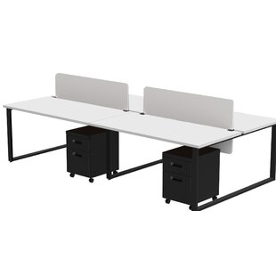 Wickstrom Benching for Four - 60 X 30 Desks with 4 Mobile Pedestals and 2 Acrylic Privacy Screens, Designer White Laminate/Silver Finish