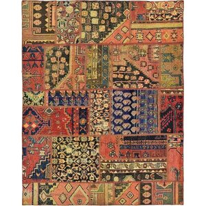 Sela Vintage Persian Hand Woven Wool Rectangle Red/Orange Tribal Patchwork Area Rug