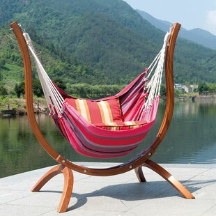 SunTime Outdoor Living Patagonia Wooden Striped Nylon Tree Hammock