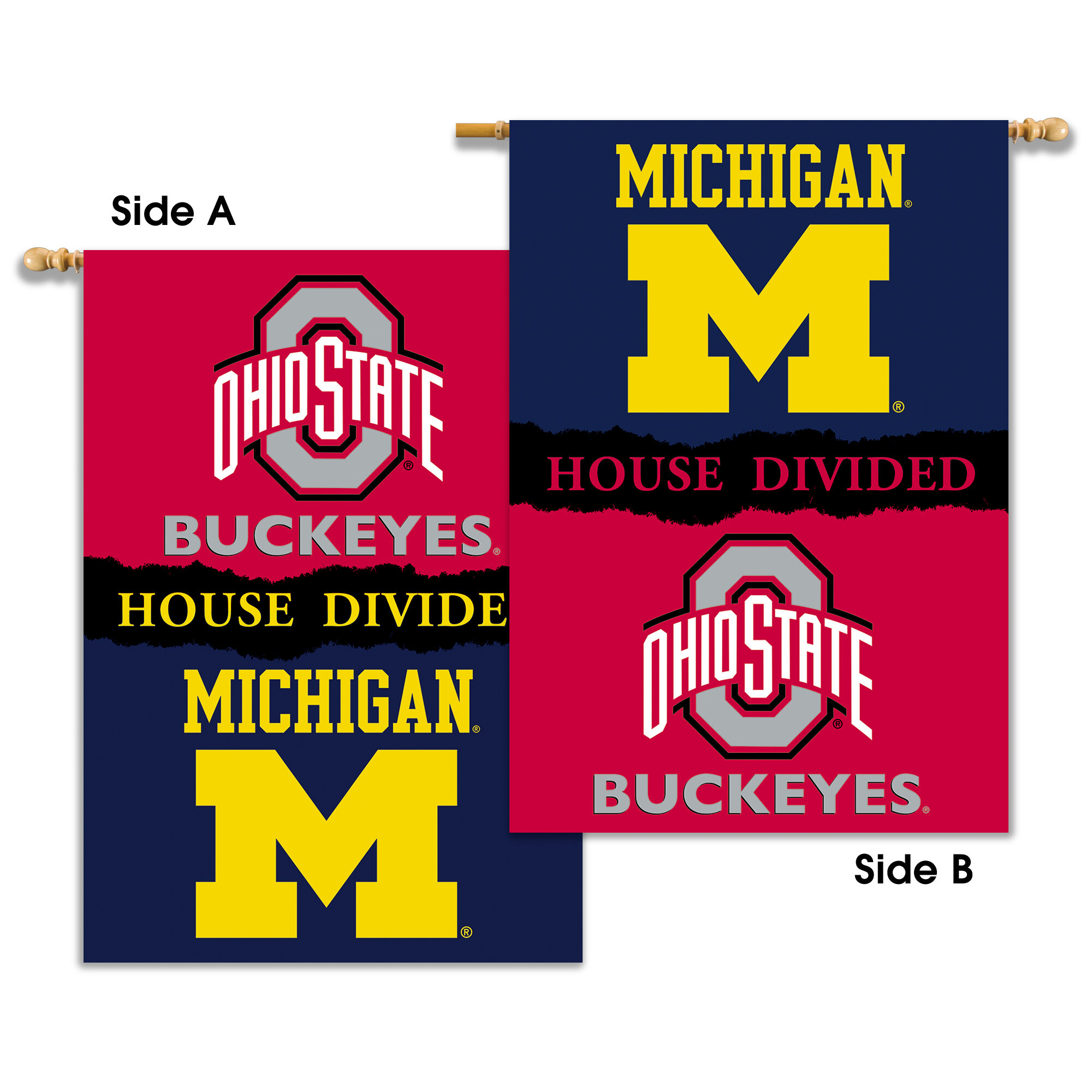 Bsi Products Michigan Ohio State Rivalry Divided 2 Sided Polyester 40 X 28 In House Flag Wayfair