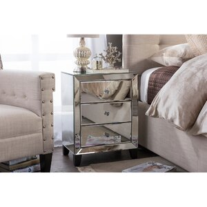 Baxton Studio Chevron 3 Drawer Nightstand