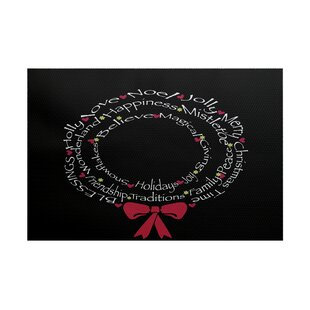 Wreath of Words Print Black Indoor/Outdoor Area Rug By The Holiday Aisle