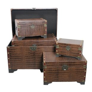 ESSENTIAL DÉCOR & BEYOND, INC 5 Piece Leather Storage Trunk Set