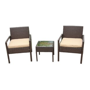 Okolona 3 Piece Rattan 2 Person Seating Group with Cushions