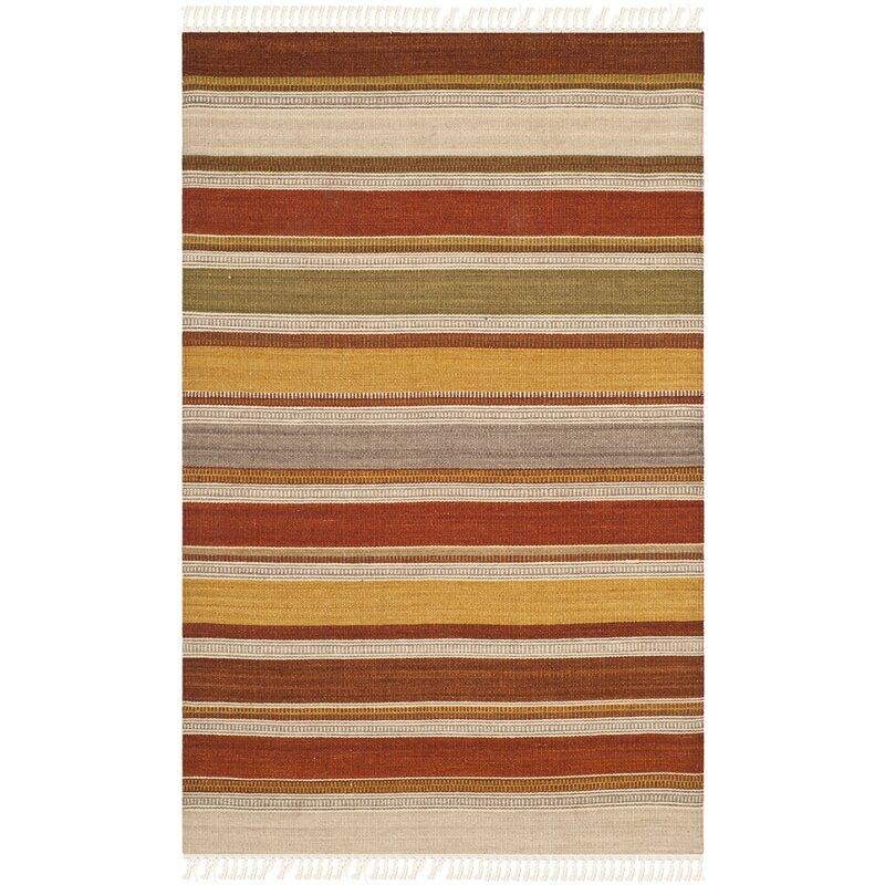 Striped Kilim Hand Woven Wool Rust Brown Beige Area Rug