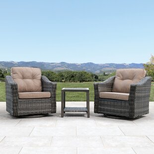 Serenity Swivel 3 Piece Conversation Set with Cushions