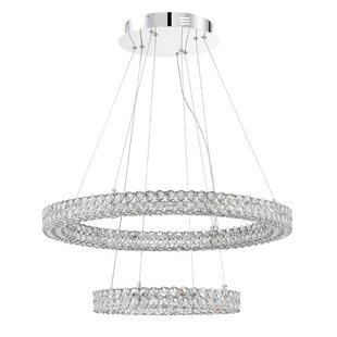 Orren Ellis Coletta 2-Light LED Crystal Chandelier