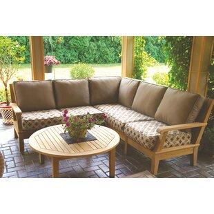 Cervantez 4 Piece Teak Sunbrella Sectional Seating Group with Sunbrella Cushions