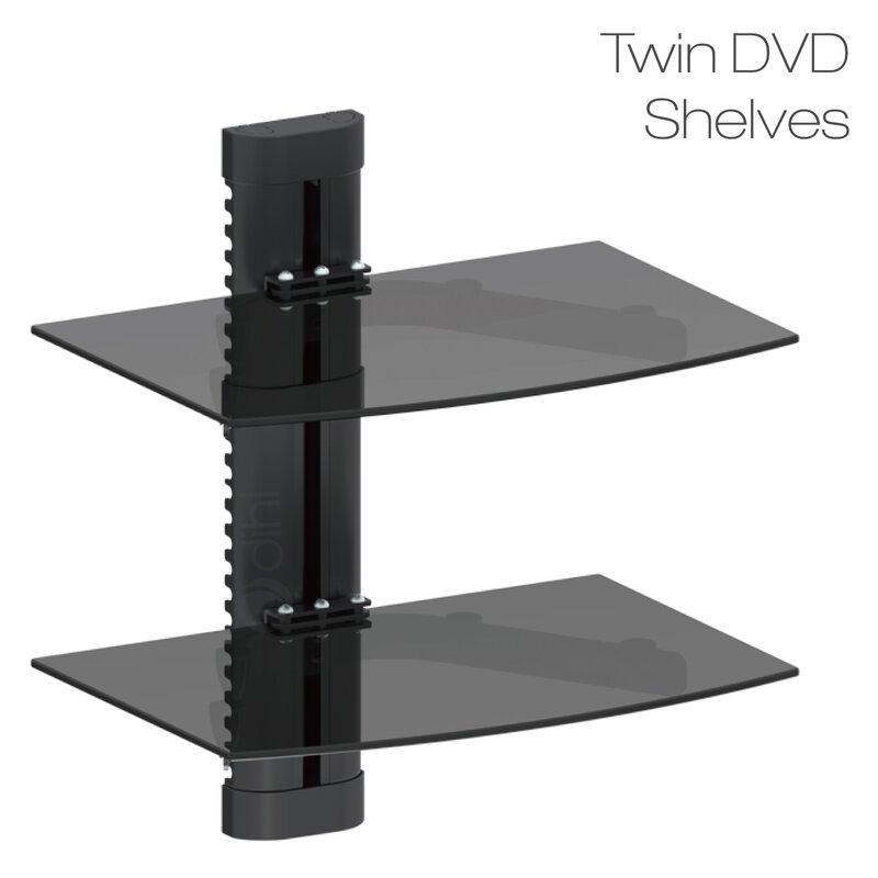 dihl double glass tv shelf wayfair co uk rh wayfair co uk floating glass tv shelves floating glass tv shelves