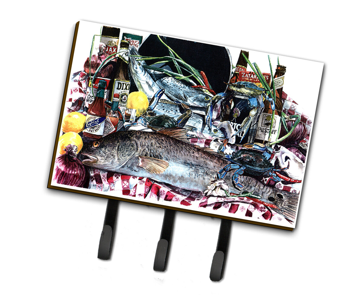 Large Carolines Treasures 8919TH68 New Orleans Beers and Crabs Leash or Key Holder Multicolor