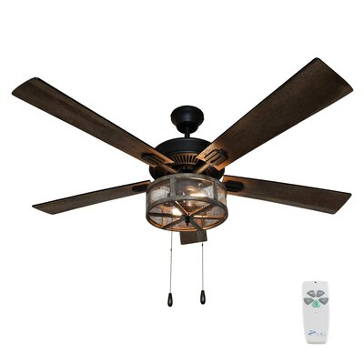 17 Stories 52 Abbigail Woodgrain Caged Farmhouse 5 Blade LED Ceiling Fan with Remote Light Kit Included
