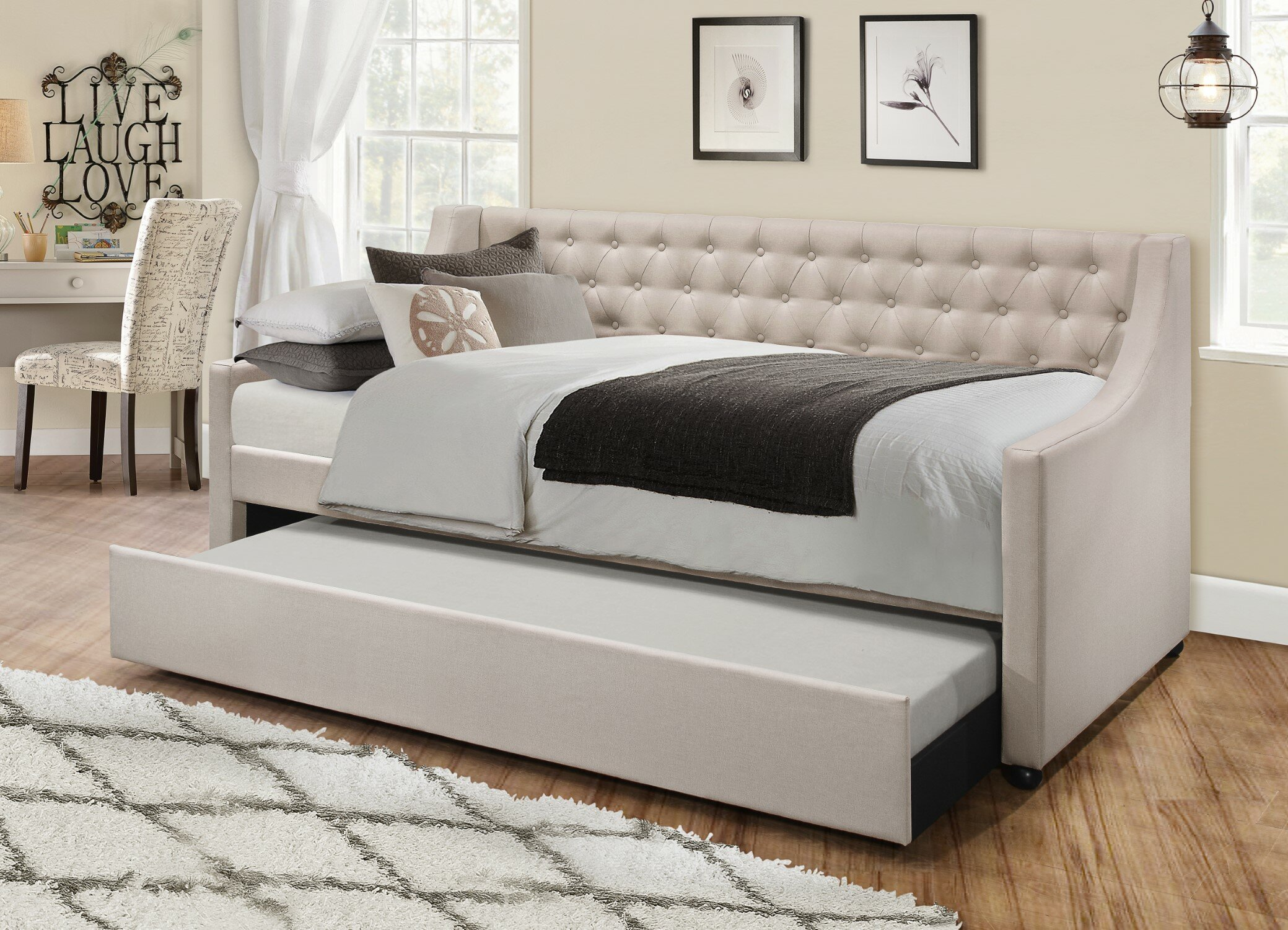 - Charlton Home Jabari Upholstered Twin Daybed With Trundle