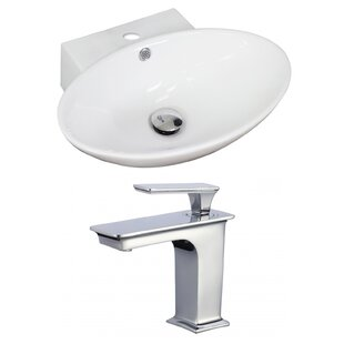 Compare prices Ceramic 21 Wall Mount Bathroom Sink with Faucet and Overflow ByAmerican Imaginations