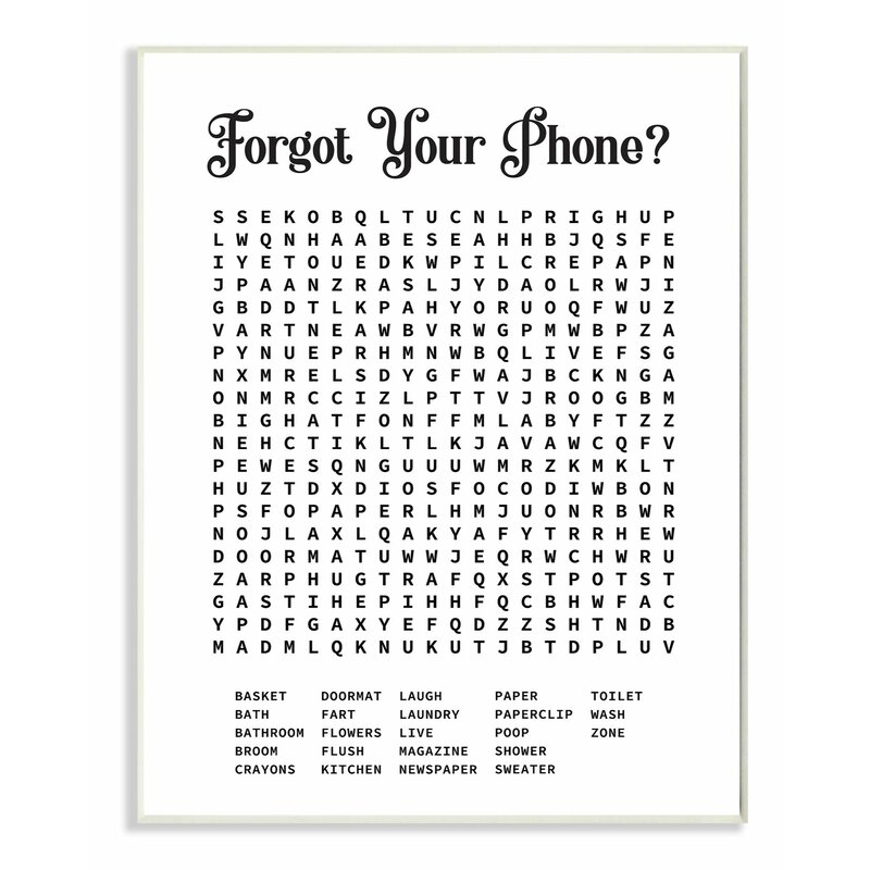 Ebern Designs Phone Crossword Puzzle Bathroom Word Design Graphic Art Print Reviews Wayfair