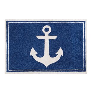 Low priced Shyanne Hand-Hooked Wool Blue Area Rug By Breakwater Bay