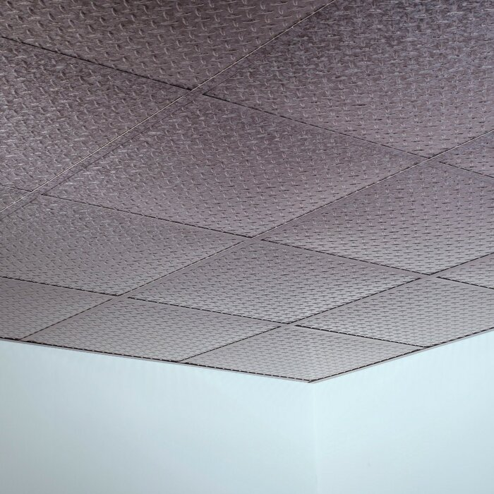 Diamond Plate Revealed Edge 2 Ft X 2 Ft Lay In Ceiling Tile In Galvanized Steel