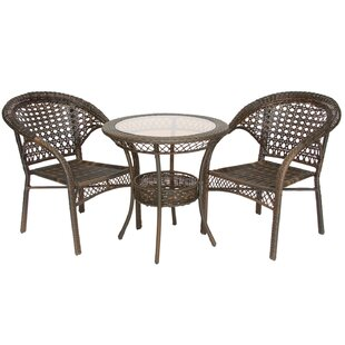 Melia 3 Piece Wicker Bistro Set