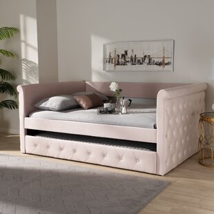 Cornell Modern and Contemporary Velvet Upholstered Daybed with Trundle by Rosdorf Park