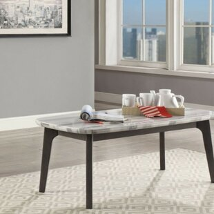 Zamora Transitional Rectangular Marble and Wood Coffee Table by Wrought Studio
