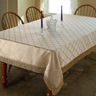 Bedford Damask Design Fringe Tablecloth