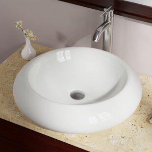 Bargain Pillow Top Vitreous China Circular Vessel Bathroom Sink ByMR Direct