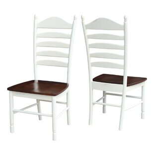 Hallandale Ladderback Solid Wood Dining Chair (Set of 2) Breakwater Bay