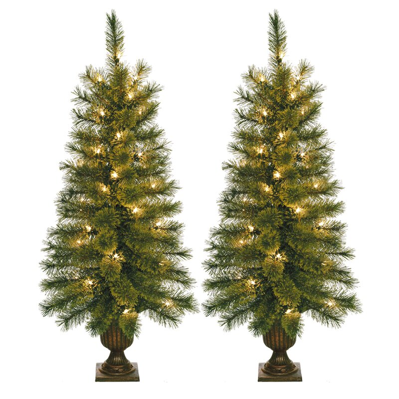 35 green artificial christmas tree with 35 clear lights with urn stand - Artificial Christmas Trees With Lights