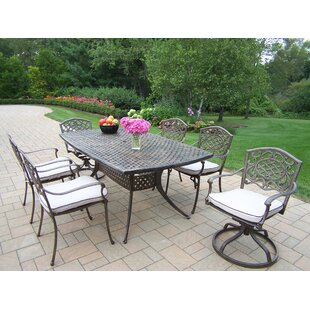 Oakland Living Mississippi Oxford 7 Piece Dining Set with Cushions