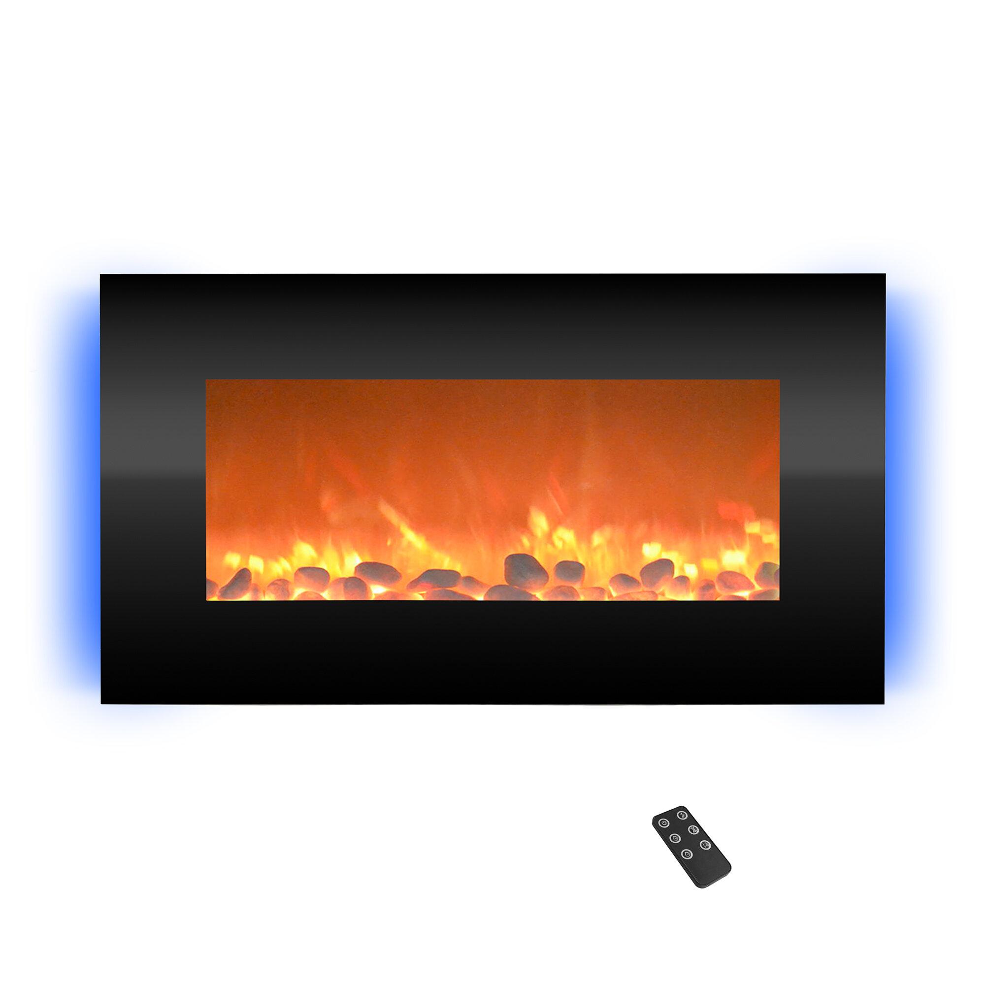Orren Ellis Hyler Wall Mounted Electric Fireplace Reviews Wayfair