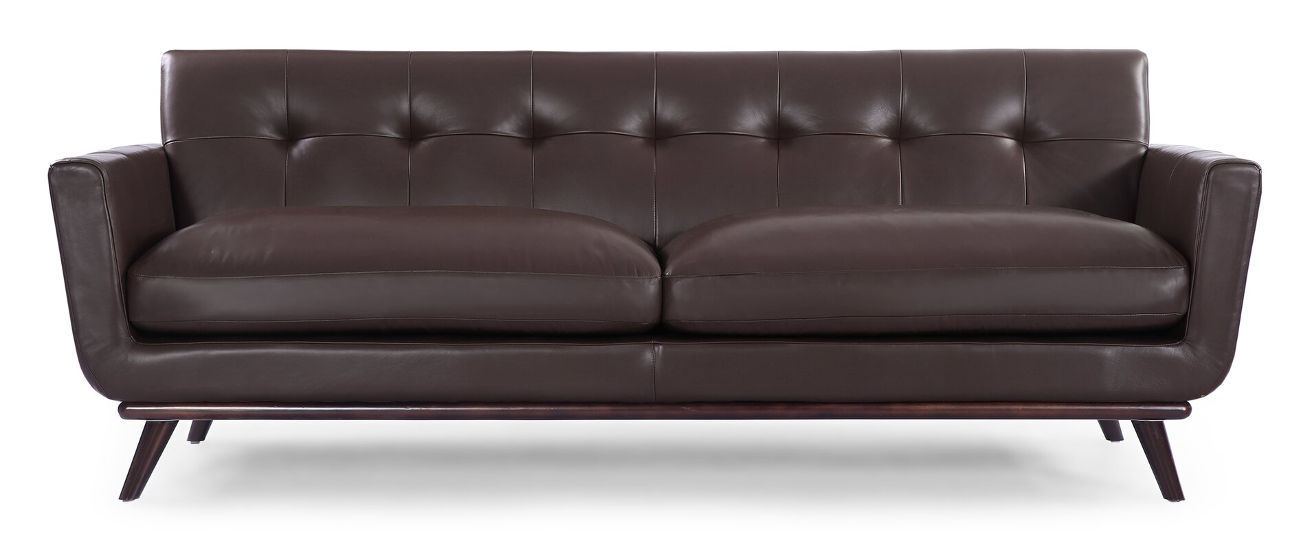 Lovely Luther Mid Century Modern Vintage Leather Sofa
