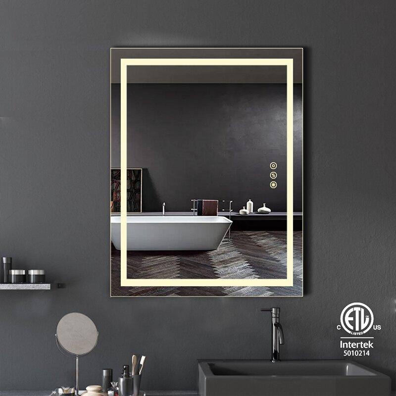 Orren Ellis Musial Modern Contemporary Beveled Frameless Lighted Bathroom Vanity Mirror Wayfair