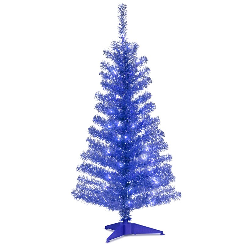 tinsel trees 4 blue artificial christmas tree with 70 clear lights and stand