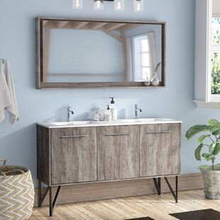 Read Reviews Ellison Nature Wood 59 Double Bathroom Vanity Set with Mirror By Union Rustic