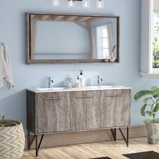 "Ellison Nature Wood 60"" Double Bathroom Vanity with Mirror"