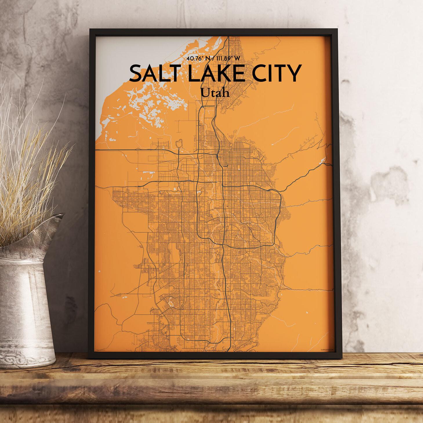 Digital Art Print Custom Map Canvas Print Salt Lake City Map Print Salt Lake City Abstract Map Art Salt Lake City Art Poster Print
