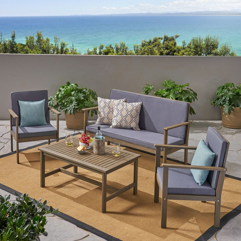 Beachcrest Home Rosner 4 Piece Sofa Seating Group With Cushions Reviews Wayfair