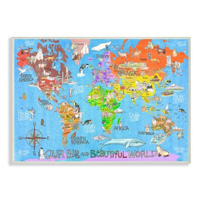 Stupell Industries Our Big Beautiful World Map Wall Plaque Wayfair - Big world map for wall