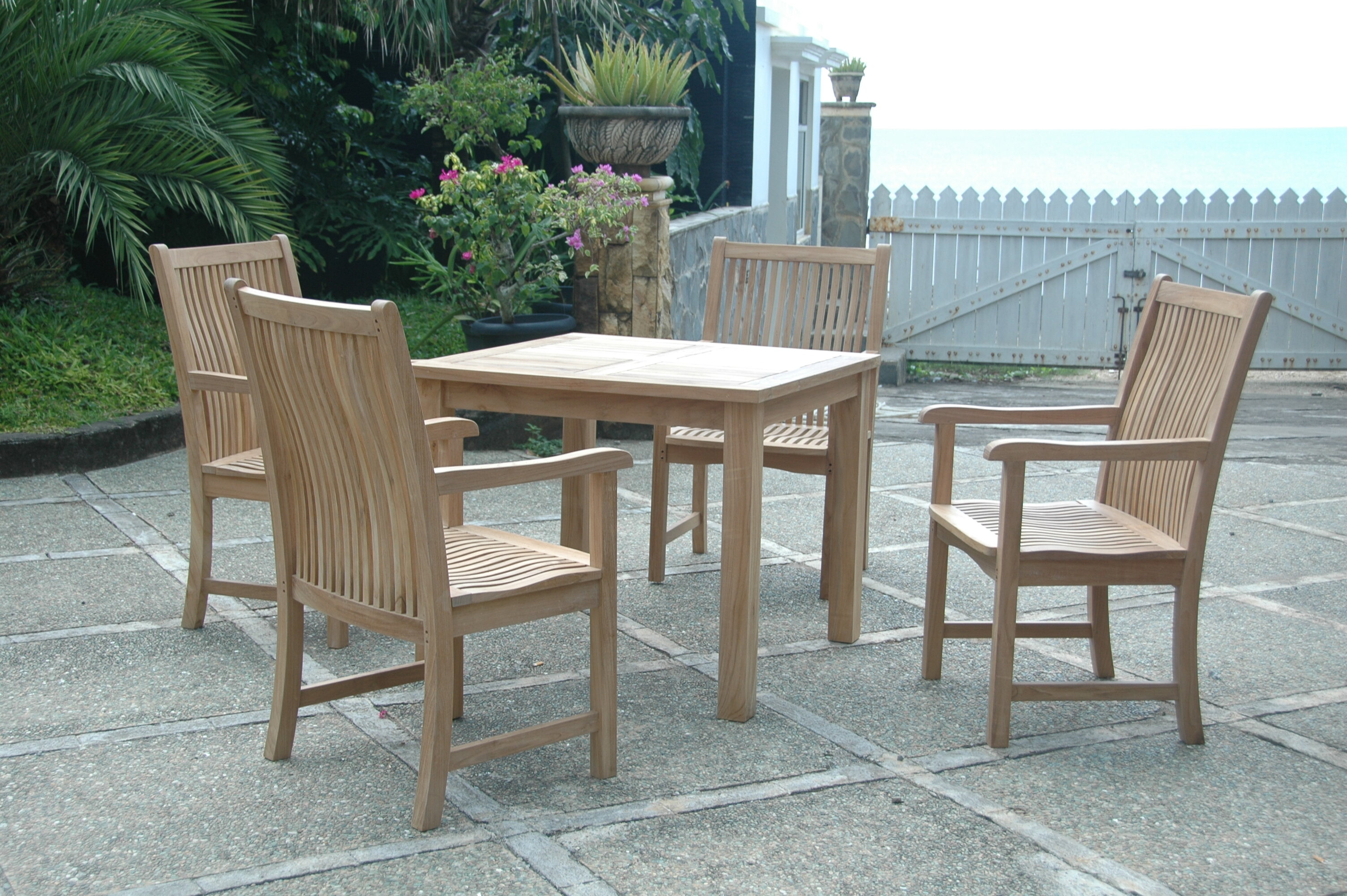 Anderson teak bahama chicago 5 piece dining set reviews for Bahama towel chaise cover