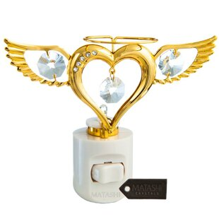 Matashi Crystal 24K Gold Plated Crystal Studded Angel Heart Multi-Colored LED Night Light
