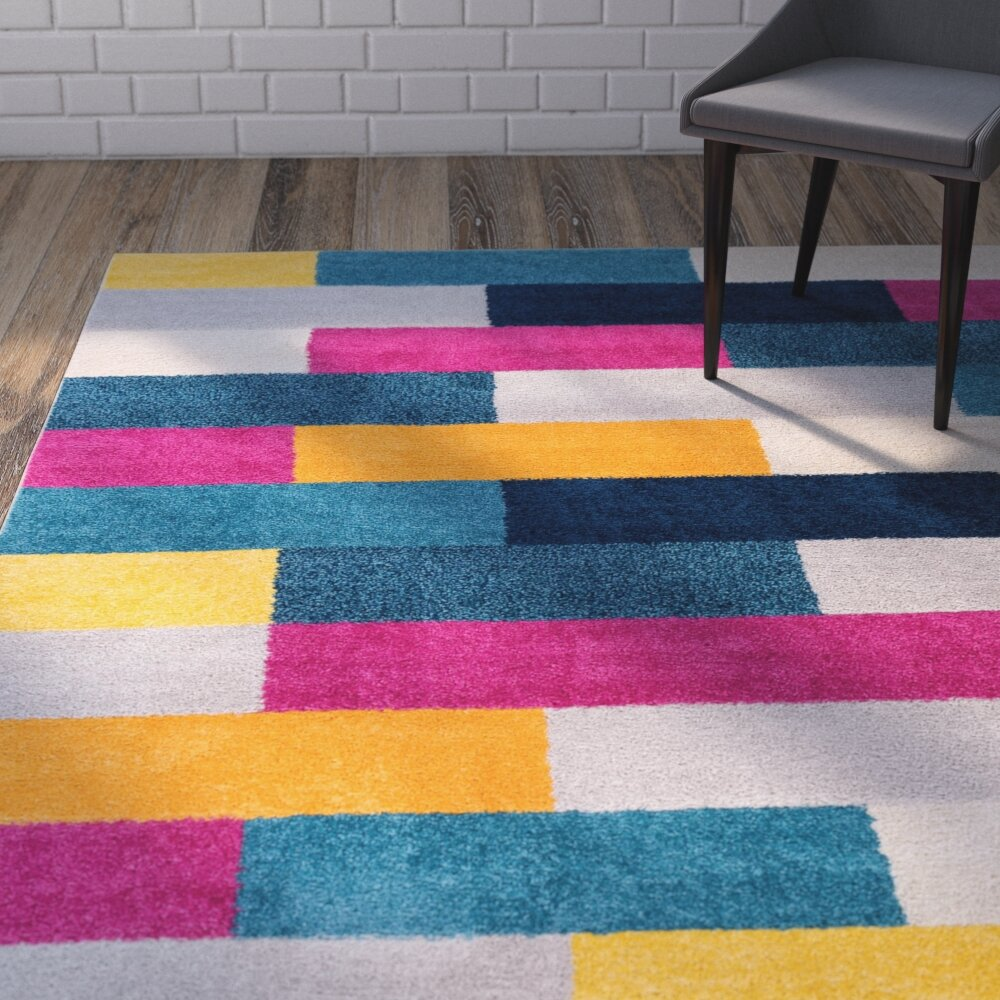 Wrought Studio Broxton Blocks Power Loom Pink Yellow Rug Reviews Wayfair